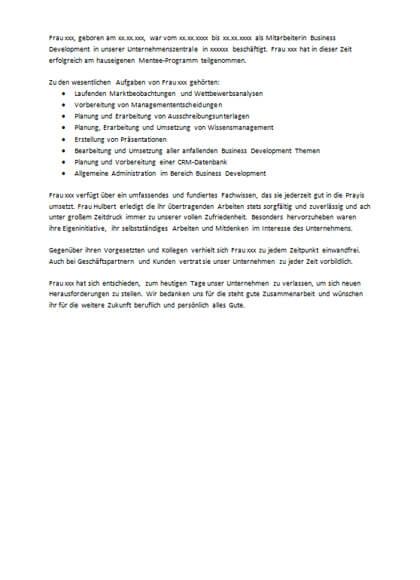 Arbeitszeugnisse Mitarbeiterin Business Development
