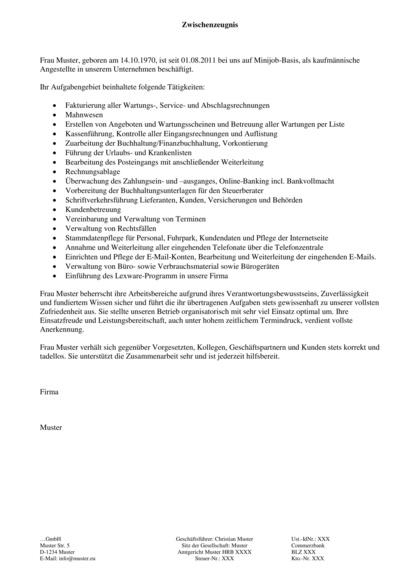 Vorschau Arbeitszeugnisse Bürokauffrau