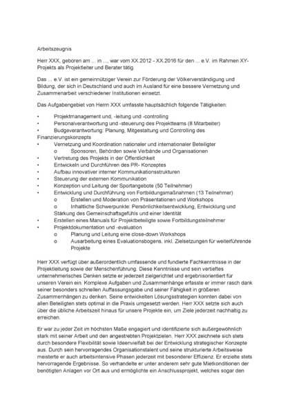 Arbeitszeugnisse Projektleiter und Berater