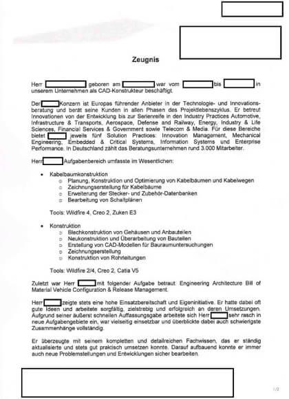 Arbeitszeugnisse CAD-Konstrukteur