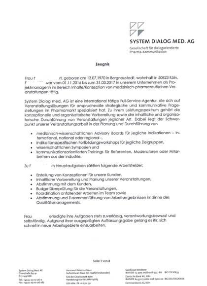 Vorschau Arbeitszeugnisse Projektmanagerin Inhalte/Konzeption