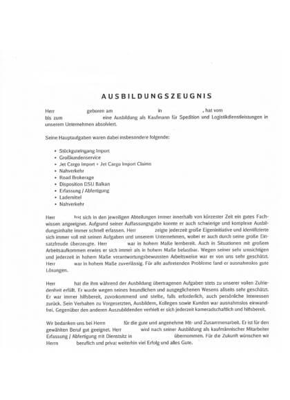 Ausbildungszeugnisse Kaufmann Spedition und Logistikdienstleistung