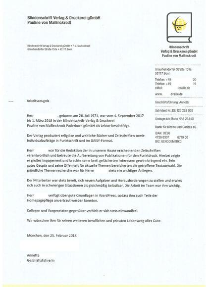 Arbeitszeugnisse Lektor im Blindenschrift-Verlag