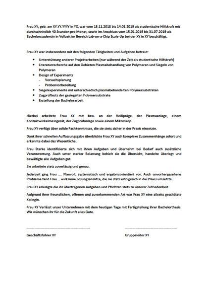 Ausbildungszeugnisse Bachelor Verpackungstechnik