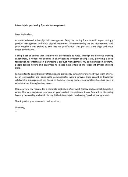 Vorschau Bewerbungsanschreiben Cover Letter Example: Working student