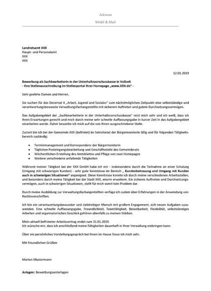 Vorschau Bewerbungsanschreiben Sachbearbeiterin Unterhaltsvorschusskasse