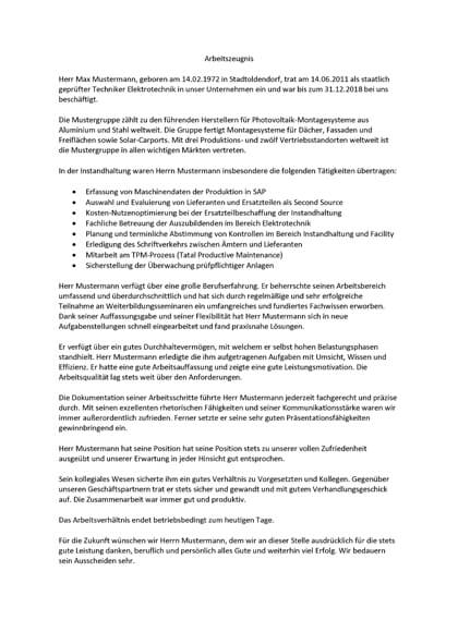 Arbeitszeugnisse Staatlich geprüfter Techniker Elektrotechnik