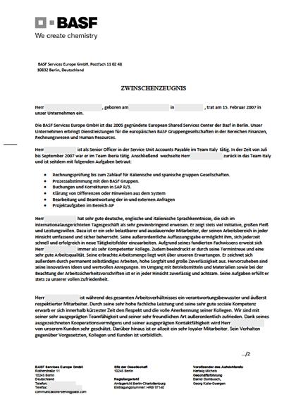 Zwischenzeugnisse Buchhaltung - Senior Officer