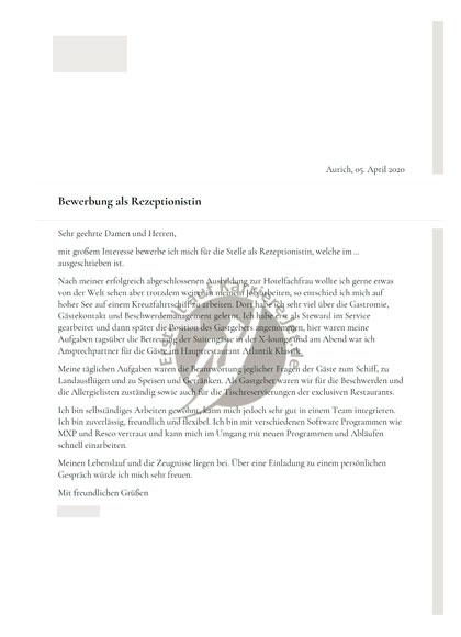 Vorschau Bewerbungsmappen Rezeptionsmitarbeiter