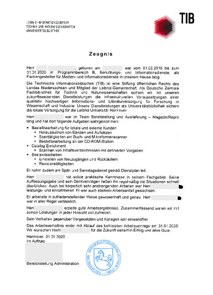 Arbeitszeugnisse Fachangestellter Medien und Informationsdienste