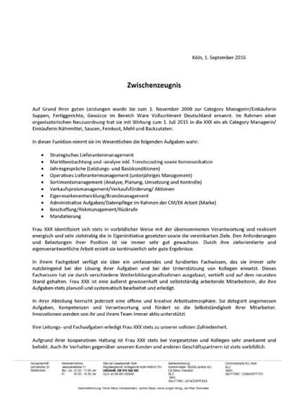Zwischenzeugnisse Category Managerin /  Einkäuferin