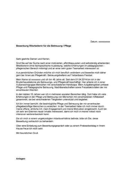 Vorschau Bewerbungsanschreiben Mitarbeiterin Betreuung / Pflege