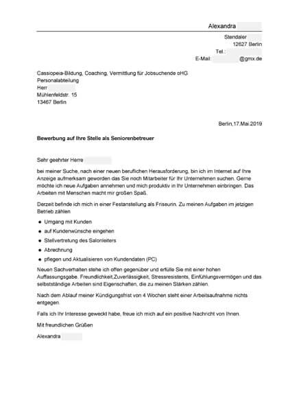Vorschau Bewerbungsanschreiben Seniorenbetreuer/Altagsbegleiter